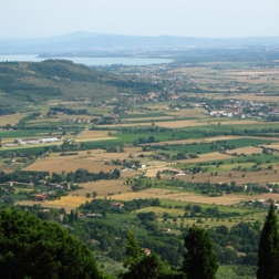 view of the valley and Lake Trasimeno on the way up to the Sanctuary of Santa Margherita