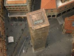Looking down at the Garisenda Tower.