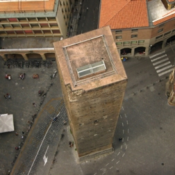 Looking down at the Garisenda Tower.