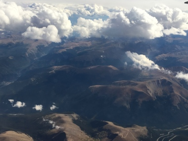 view of the mountains of Colorado Denver to San Francisco flight, Date: Monday September 12, 2016