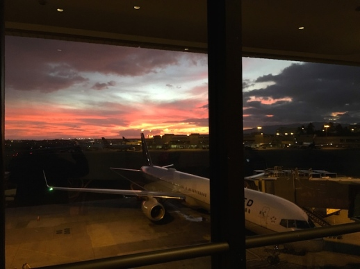 sunset at the airport Honolulu, Oahu, Hawaii, September, 2016