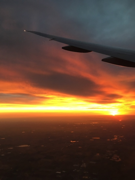 sunrise in Colorado on the plane Honolulu to Denver flight, Date: Tuesday September 20, 2016