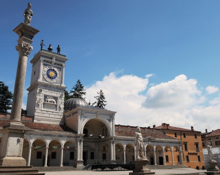Piazza della Libertà - Loggia di San Giovanni con Torre dell'Orologio Udine, Italy, May, 2017