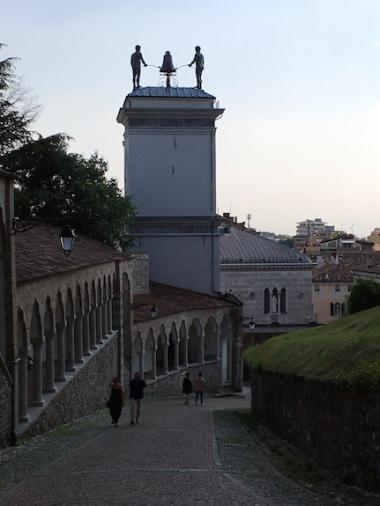 Porticato del Lippomani - walkway to/from the Castello di Udine & back view of the Torre dell'Orologio Udine, Italy Date: Saturday May 27, 2017