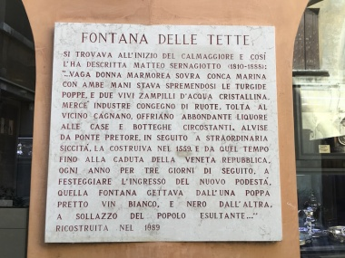 Fontana delle Tette sign Treviso, Italy Date: Tuesday May 30, 2017