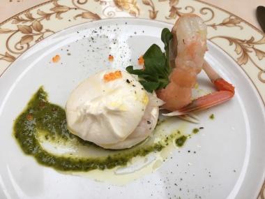 Trattoria Hesperia - Millefoglie di burrata con scampi marinati su salsa verde alle cime di rape Treviso, Italy Date: Tuesday May 30, 2017