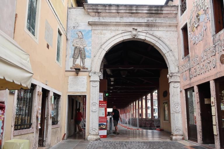Ponte Vecchio or Ponte degli Alpini  Bassano del Grappa, Italy, May, 2017