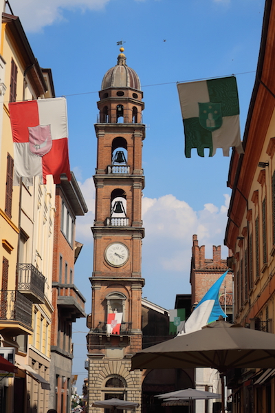 Palio flags and Torre Civica