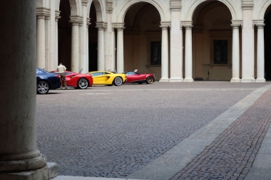 Fancy cars inside the courtyard