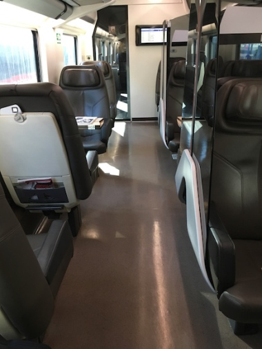 view of the business car on a Frecciarossa train