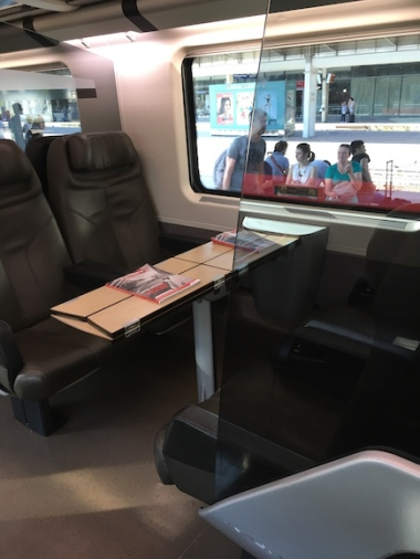 another view of the business car on a Frecciarossa train