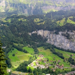 view of Lauterbrunnen from the train ride back up to Mürren