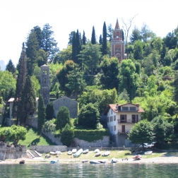boat ride from Villa del Balbianello to Bellagio - view of the church of Santa Maria di Loppia and the Mausoleum Italy Trip 2005, Lago di Como, Italy Date: Thursday June 30, 2005